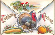 hol064123 - Thanksgiving Postcard Old Vintage Antique Post Card