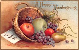 hol064787 - Thanksgiving Postcard Old Vintage Antique Post Card