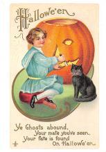 hol100001 - Halloween Postcards Old Vintage Antique Post Card