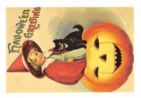 hol100007 - Halloween Postcards Old Vintage Antique Post Card