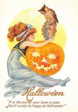 hol100009 - Halloween Postcards Old Vintage Antique Post Card