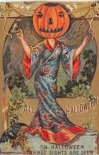 hol100047 - Halloween Postcards Old Vintage Antique Post Card