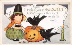 hol100067 - Halloween Postcards Old Vintage Antique Post Card