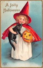 hol100073 - Halloween Postcards Old Vintage Antique Post Card