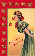 hol100091 - Halloween Postcards Old Vintage Antique Post Card