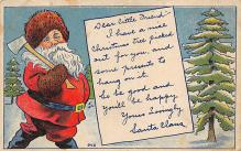 holf017821 - Santa Claus Postcard Old Christmas Post Card