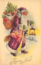 holf017883 - Purple Suit Santa Claus Postcard Christmas Post Card