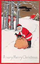 holf017908 - Santa Claus Postcard Antique Christmas Post Card