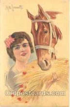 hor001016 - Artist Simonetti, Horse Horses Postcard Postcards