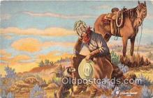hor001596 - New Range Ahead LH Dude Larson Postcard Post Card