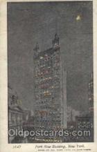 htl000037 - Hold to Light, Park Row Building, New York, building lights up when held to light, Postcard Postcards