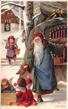 htl001001 - Green Robe, Hold To Light, Santa Claus, Chirstmas, Postcard Postcards