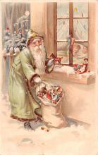 htl001002 - Green Robe, Hold To Light Santa Claus, Chirstmas, Postcard Postcards