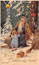 htl001004 - Purple Robe, Hold To Light Santa Claus, Chirstmas, Postcard Postcards