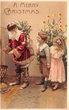 htl001005 - Red Robe, Hold To Light Santa Claus, Chirstmas, Postcard Postcards