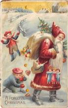 htl001023 - Hold To Light Santa Claus Postcard Old Vintage Christmas Post Card