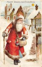 htl001025 - Hold To Light Santa Claus Postcard Old Vintage Christmas Post Card