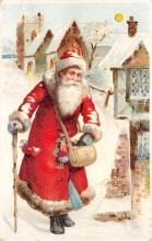 htl001026 - Hold To Light Santa Claus Postcard Old Vintage Christmas Post Card