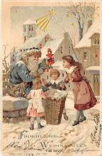 htl001028 - Hold To Light Santa Claus Postcard Old Vintage Christmas Post Card
