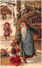 htl001179 - Santa Claus Hold To Light Post Card Old Vintage Antique