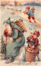 htl001181 - Santa Claus Hold To Light Post Card Old Vintage Antique