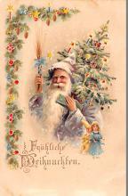 htl001183 - Santa Claus Hold To Light Post Card Old Vintage Antique