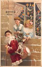 htl001185 - Santa Claus Hold To Light Post Card Old Vintage Antique