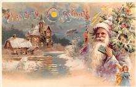 htl001187 - Santa Claus Hold To Light Post Card Old Vintage Antique