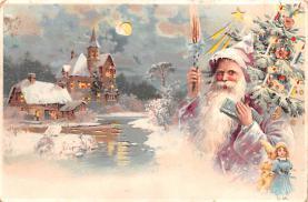 htl001189 - Santa Claus Hold To Light Post Card Old Vintage Antique