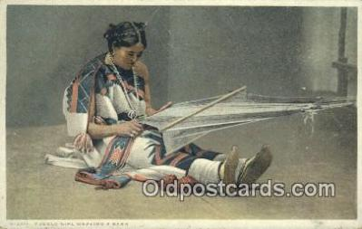 ind200159 - Pueblo Girl weaving a sash, Fred Harvey Indian Postcard, Post Card