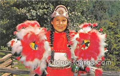 ind300220 - Geneva Walkingstick Cherokee Indian Girl Cherokee Indian Reservation, North Carolina, USA Postcard Post Cards