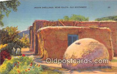 ind300286 - Indian Dwellings Ysleta, Ole Southwest Postcard Post Cards