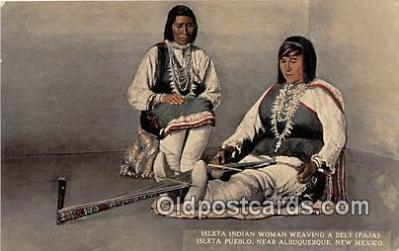Isleta Indian Woman Weaving a Belt