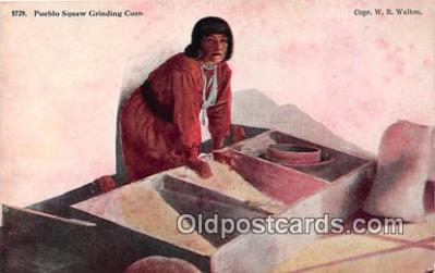 Pueblo Squaw Grinding Corn