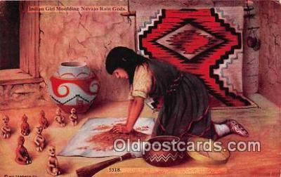 Indian Girl Molding Navajo Rain Gods