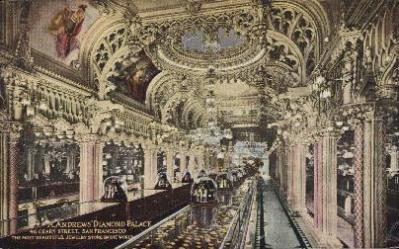 int001022 - A.Andrews' Diamond Palace, Geary Street, San Francisco, USA Store Interior Postcard Postcards