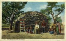 ind000038 - Navajo Hogan on Reservation, Indian, Indians, Postcard Postcards