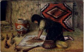 ind000039 - Molding Navajo Rain Gods, Indian, Indians, Postcard Postcards