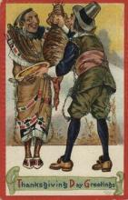 ind000514 - Thanksgiving greeting Indian, Indians Postcard Postcards
