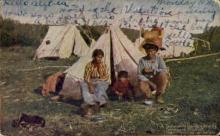 ind000656 - A Temagami Guide and Family Indian, Indians, Postcard Postcards