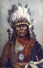 ind200009 - Chief Iron Owl Tucks Indian, Indians, Postcard Post Cards