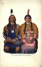 ind200078 - Chief Buckskin Charlie & Squaw Indian, Indians, Postcard Post Cards
