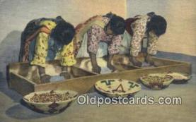 ind200157 - Pueblo Indian Women Grinding Grain Indian Postcard, Post Card