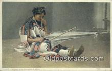 ind200159 - Pueblo Girl weaving a sash, Fred Harvey Indian Postcard, Post Card