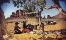 ind200172 - Rug Weaving, Navajo Women Indian Postcard, Post Card