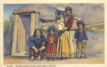 ind200328 - Navaho Indian Family & Hogan Indian Postcard, Post Card