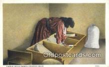 ind200383 - Pueblo Indian Woman Grinding Grain Indian Postcard, Post Card