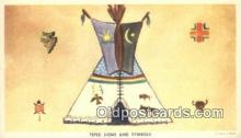 ind200413 - Tepee Signs & Symbols Indian Postcard, Post Card