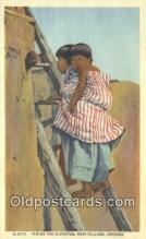 ind200461 - Taking the Elevator, Hopi Village Indian Postcard, Post Card
