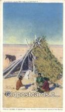 ind200474 - Navajo Indians at Breakfast Indian Postcard, Post Card